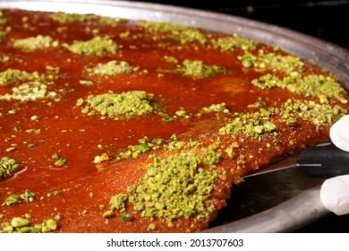 arabian Kunafeh dessert with qader