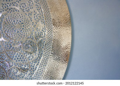 Arabian lamp ornament detail, metal material. Oriental style, decorated cover with floral motifs.