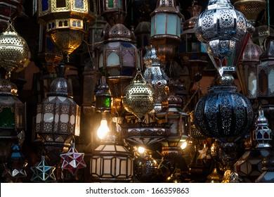 arabian lamps in the souks of Marrakesh