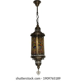 Arabian Lamps Turkish Lights Brass Hanging Ceiling Chandelier Interior Architecture Isolated on White Background