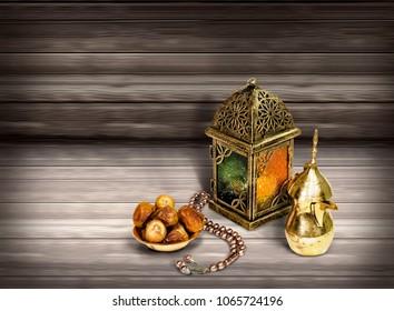 Arabian lantern with dates food and arabic coffee