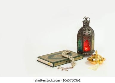 "Arabian Lantern with ""Quran Holy book"""