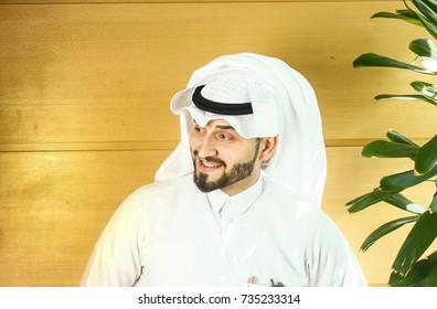 Arabian man smiling.
