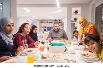Arabian Muslim family eating Iftar in Ramadan together