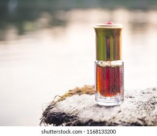 Arabian oud attar perfume or agarwood oil fragrances in mini bottle