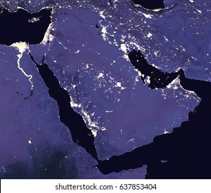 The Arabian Peninsula by night - View from space - Elements of this image furnished by NASA