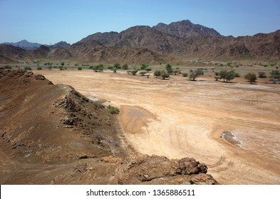 Arabian peninsula landscape with dry mountains in Fujairah, United Arab Emirates