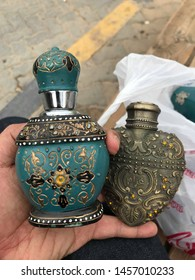 Arabian perfume bottle in tosca and bronze color