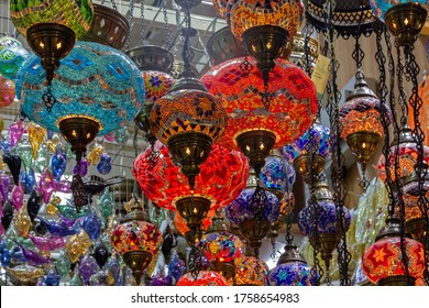 Arabian style decorative glass lamps in souvenir shop