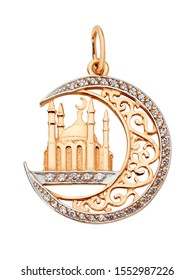 Arabian style gold pendant with diamonds and mosque isolated on white background