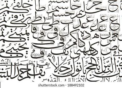 Arabic alphabet text, closeup, texture, background