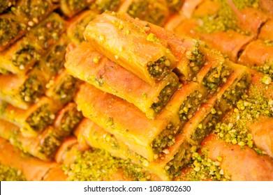 Arabic baklava  with  pistachio  nuts.