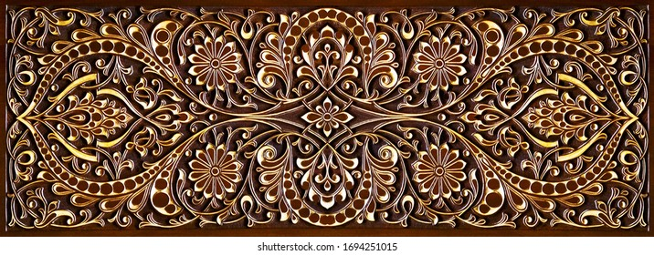 Arabic beautiful patterns, wooden carved on the door.Oriental architectural decoration.