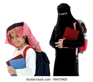 Arabic boy and girl with a backpack and the book