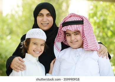 Arabic boys with mother