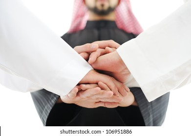 Arabic business team showing unity with Cooperation Council