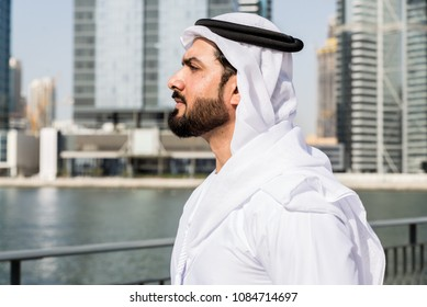 Arabic businessman wearing kandora - Portrait of traditional emirati man