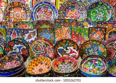 Arabic ceramic plates with multicolored patterns on the Bazaar
