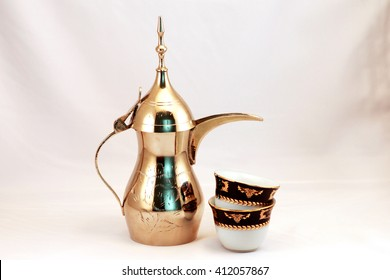 Arabic coffee cup and coffee pot