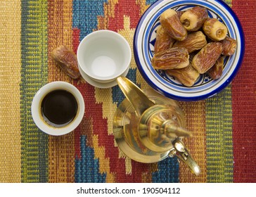 Arabic coffee and dates - bird eye view