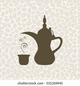 The Arabic coffee pot on the coffee background - illustration. Seamless pattern with coffee.