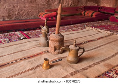 Arabic coffee pots,Grinder in a Bedouin tent