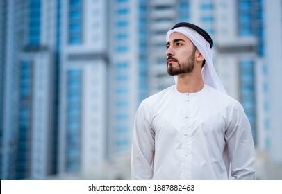 Arabic corporate businessman wearing kandora - Portrait of traditional Emirati man