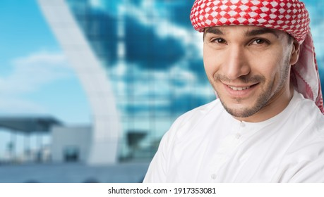 Arabic corporate businessman wearing traditional suit