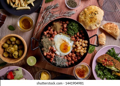 Arabic cuisine, Egyptian Breakfast - Beans; Middle Eastern traditional breakfast. It's also Ramadan 'Suhur' or 'Suhoor'. It's an Islamic term referring to the meal consumed early in the morning by Mus