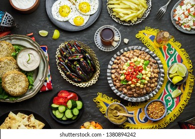 "Arabic Cuisine: Middle Eastern traditional breakfast. It's also Ramadan ""Suhur""or ""Sahur"". It's an Islamic term referring to the meal consumed early in the morning by Muslims before fasting."