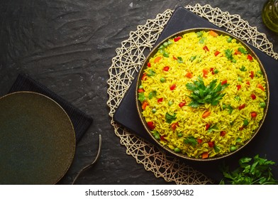 Arabic cuisine; Traditional Arabic Basmati rice with vegetables. Close up with copy space.