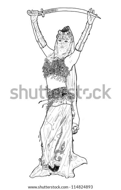 Arabic Dancing Women Drawing Sketch Stock Photo Edit Now 114824893