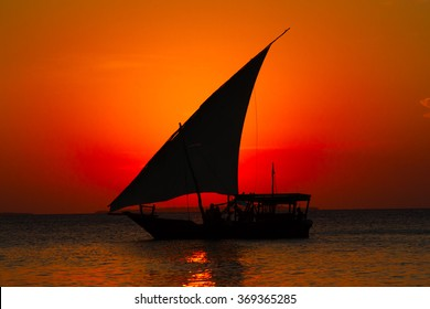 Arabic Dhow at Sunset in Zanzibar