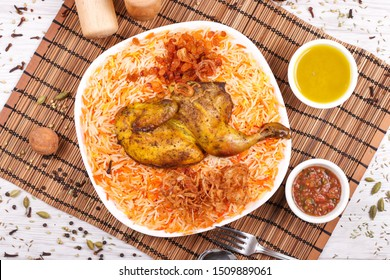 Arabic dishes grilled with rice mathbi - mandi