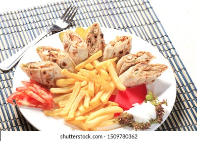 Arabic dishes shawrma with fries