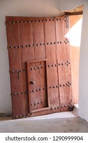 Arabic door in Al Jahra Fort, Kuwait.