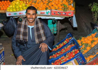 Arabic egyptian nice man in the Market day in the village along the Nile river,Egypt, middle east, africa