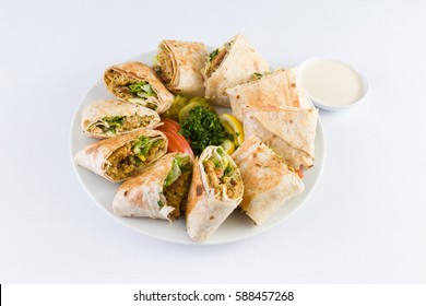 Arabic Falafel Shawerma Plate in Mediterranean Levantine Cuisine