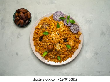 Arabic food: Chicken Kabsa it is a Traditional food in Arabian region.  Top view.