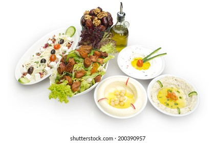 Arabic food of Hommos, Labneh,Fattoush, & Dates served during Ramdan