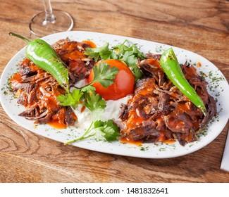 Arabic food, Iskender Kebap - Delicious kebap lamb meat with rice, beautifully arranged oriental dinner