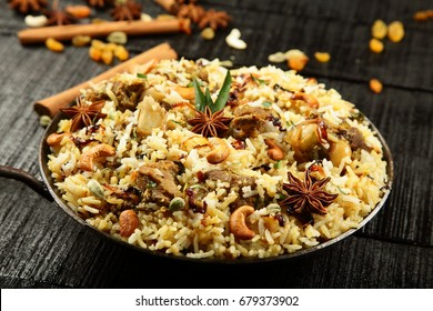 Arabic food- mutton and rice pilaf in wok.