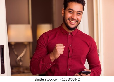 Arabic Guy talking to someone  and get good news, Arabian model looking to camera concept theme in Alexandria Egypt in middle east Africa