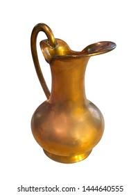 Arabic jug. Antique Golden Jug. Vintage golden jug on white background