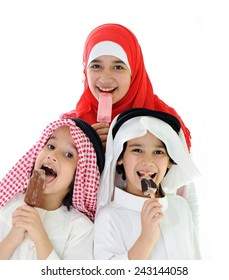 Arabic kids eating ice-cream