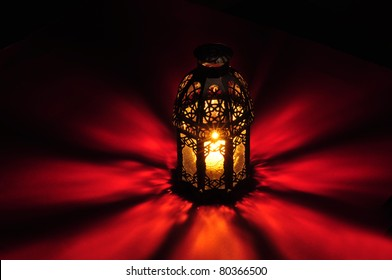 Arabic lamp with beautiful lights in the background