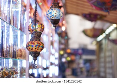 Arabic lamp. Colorful Arabic lamp selling at the souvenir market.