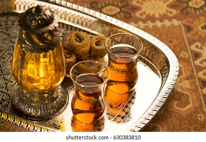 Arabic lantern, baklava sweet and tea. Still life.