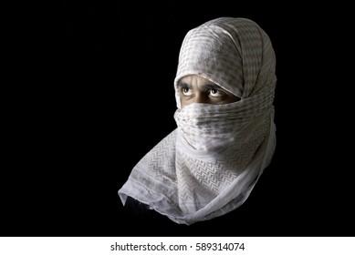 Arabic Man is White Headscarf on Black Background.