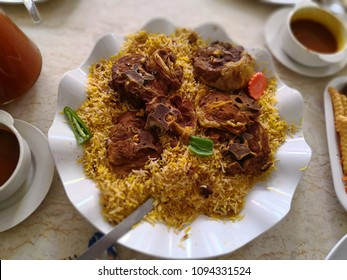 Arabic meal menu, mandy rice, goat, vegetable and other food